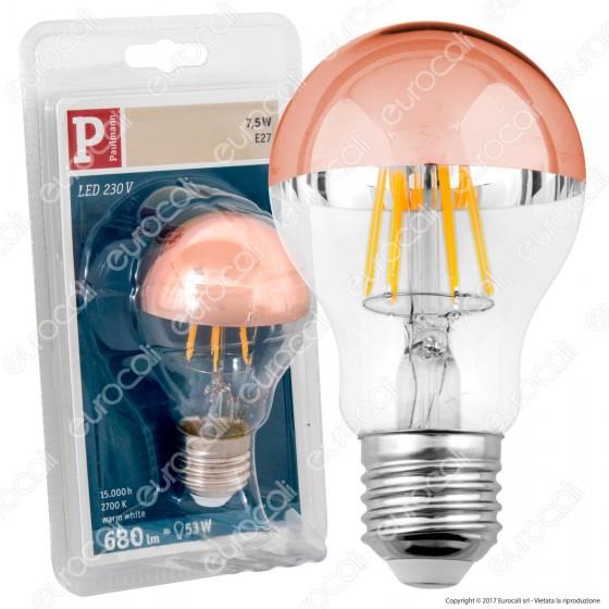 Bot Lighting Shot Lampadina LED E27 7,5W Bulb A60 Filamento Cromata