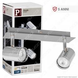 Paulmann Portafaretto Rondo Track Light Orientabile con 2 Lampadine LED 3,5W GU10