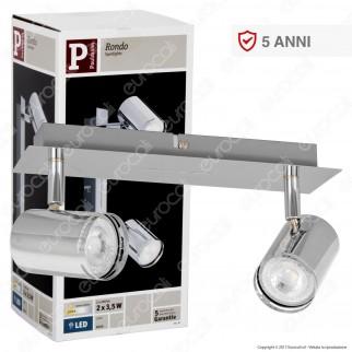 Paulmann Portafaretto Track Light Orientabile con 2 Lampadine LED 3,5W GU10