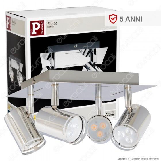 Paulmann Portafaretto Rondo Track Light Orientabile con 4 Lampadine LED 3,5W GU10