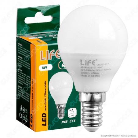 Life Lampadina LED E14 6W MiniGlobo P45 - mod. 39.920261C / 39.920261N / 39.920261F