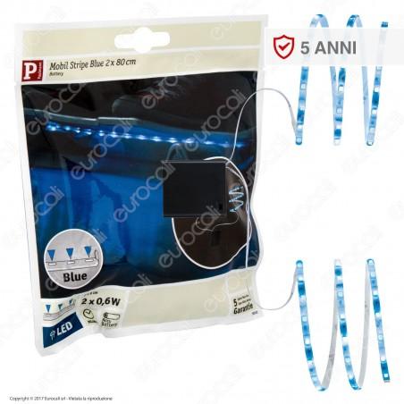 Paulmann Striscia LED Doppia Colore Blu 2x0,6W 80cm a Batterie - mod. 707.02