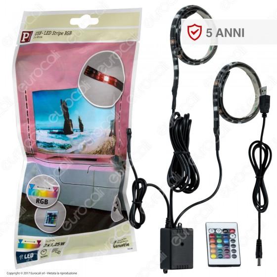 Paulmann Kit Con Striscia LED Doppia Multicolore RGB 50cm USB con Controller