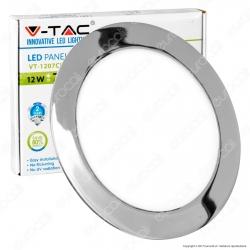 V-Tac VT-1207RD Pannello LED Rotondo 12W SMD Cromato da Incasso con Driver - SKU 6340 / 6341 / 6342