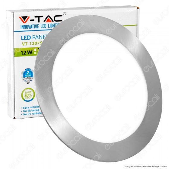 V-Tac VT-1207RD Pannello LED Rotondo 12W SMD da Incasso con Driver - SKU 6343 / 6344 / 6345