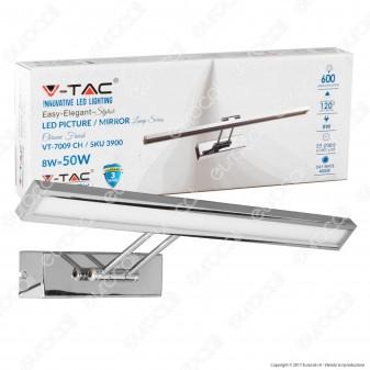 V-Tac VT-7009 Lampada da Specchio Wall Light Cromata 8W - SKU 3900