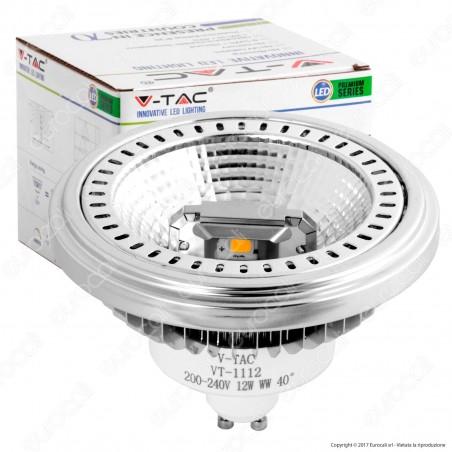 V-Tac VT-1112D Lampadina LED AR111 GU10 12W Faretto Dimmerabile 40° - SKU 7234 / 7235 / 7236