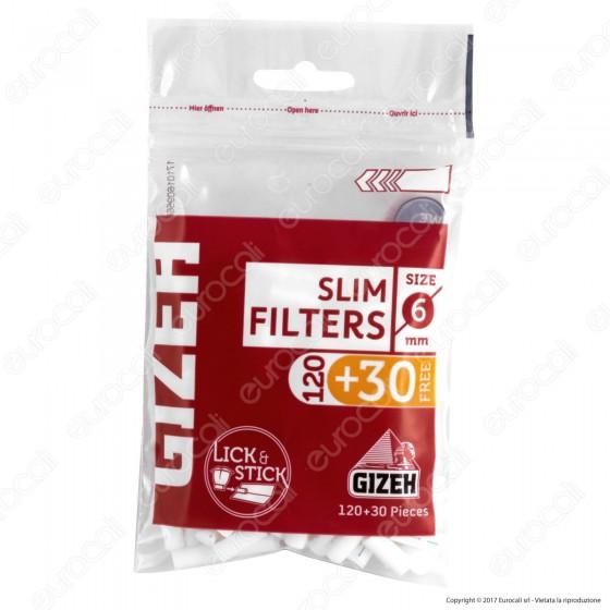 Gizeh Slim 6mm con Striscia Gommata - Bustina da 150 Filtri