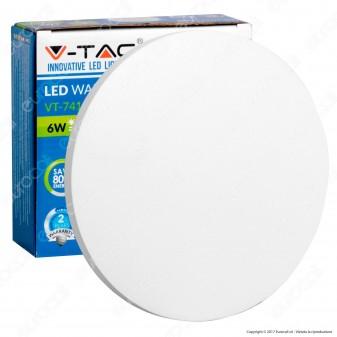 V-Tac VT-741 Lampada da Muro Wall Light LED 6W Forma Circolare Colore Bianco - SKU 7524 / 7525