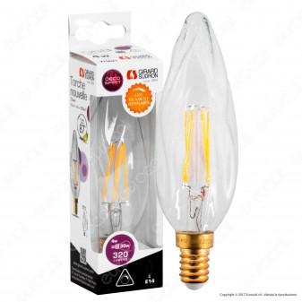 Girard Sudron Lampadina LED E14 4W Candela Filamento Dimmerabile