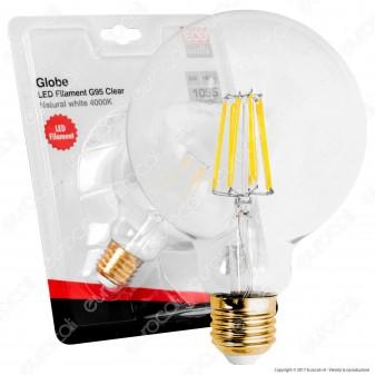 Eco-Watts Lampadina LED E27 8W Globo G95 Filamento