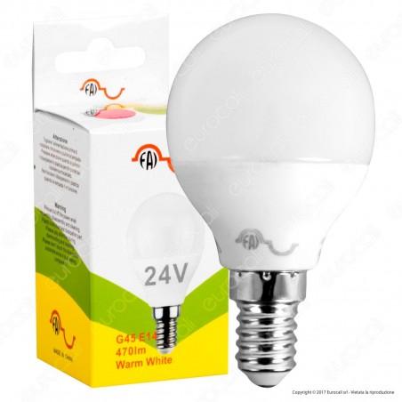FAI Lampadina LED E14 5W MiniGlobo P45 24V AC / DC - mod. 5178