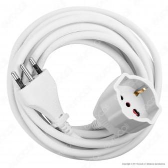 Velamp Cavo Prolunga 16A Spina Presa Schuko Bivalente 5 metri Colore Bianco