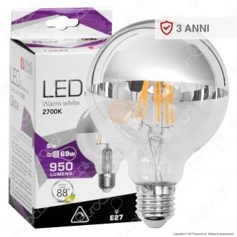 Girard Sudron Lampadina LED E27 8W Globo G95 Filamento Dimmerabile Calotta Cromata