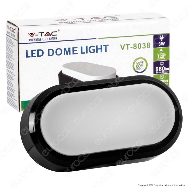 V-Tac VT-8038 Lampada da Muro LED 8W Colore Nero IP54 - SKU 1309