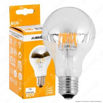 Marino Cristal Serie ECO Lampadina LED E27 7W Bulb A70 Filamento Dimmerabile Calotta Cromata