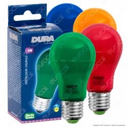 Duralamp Goccia Color Lampadina LED E27 6W Bulb A55 Colorata per Impieghi Speciali - mod. LA55B / LA55G / LA55R / LA55Y