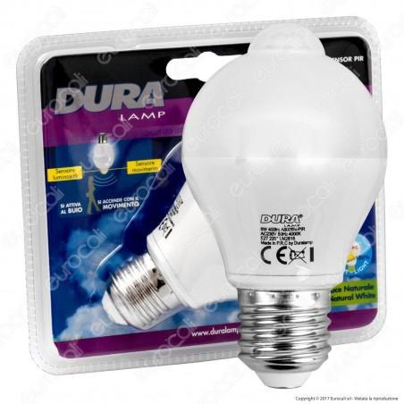 Duralamp Sensor Pir Lampadina LED E27 6W Bulb A65 con Sensore Crepuscolare e di Movimento - mod. A6006N-PIR