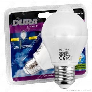 Duralamp Sensor Pir Lampadina LED E27 6W Bulb A65 con Sensore Crepuscolare e di Movimento