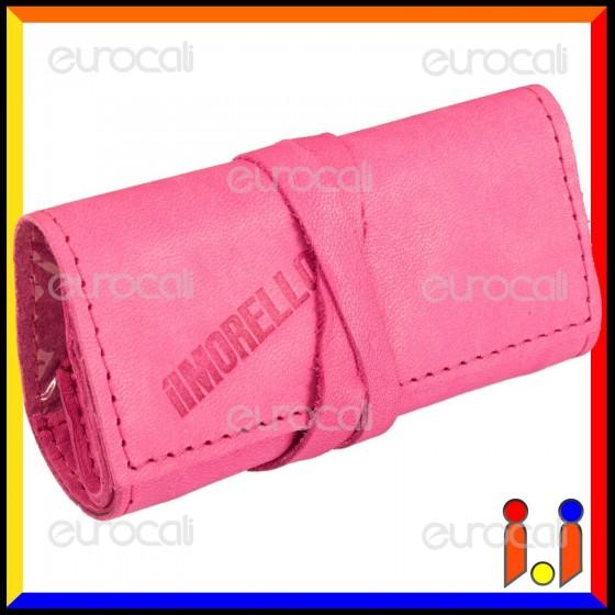 Il Morello Pocket Mini Portatabacco in Vera Pelle Colore Fucsia