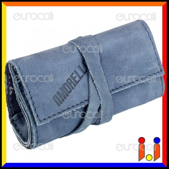 Il Morello Pocket Mini Portatabacco in Vera Pelle Colore Blu Pastello