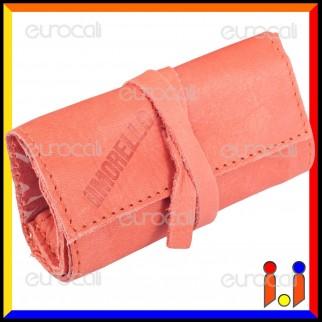 Il Morello Pocket Mini Portatabacco in Vera Pelle Colore Rosa Salmone