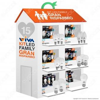 Wiva Kit LED Family Gran Risparmio - 15 Lampadine E14 e E27 da 5W a 15W