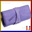 Il Morello Pocket Mini Portatabacco in Vera Pelle Colore Viola e Blu Scuro