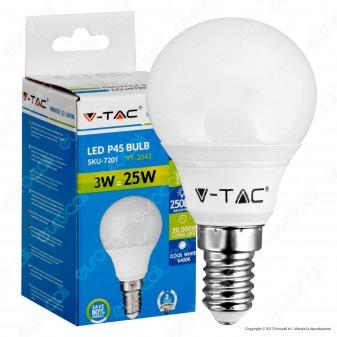 V-Tac VT-2043 Lampadina LED E14 3W MiniGlobo P45 - SKU 7199 / 7200 / 7201