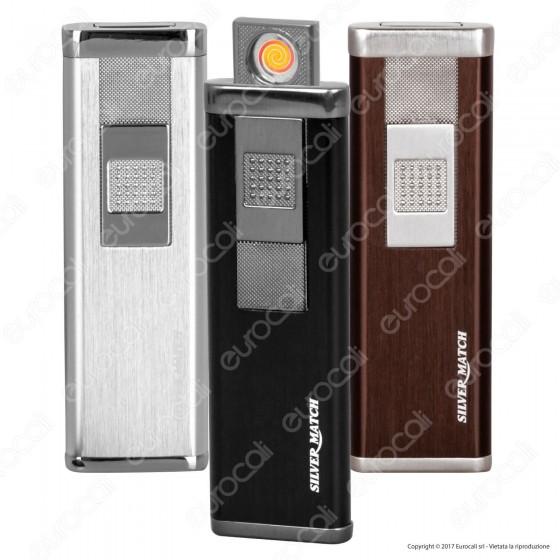 Silver Match Accendino USB in Metallo Satinato Antivento Ricaricabile - 1 Accendino