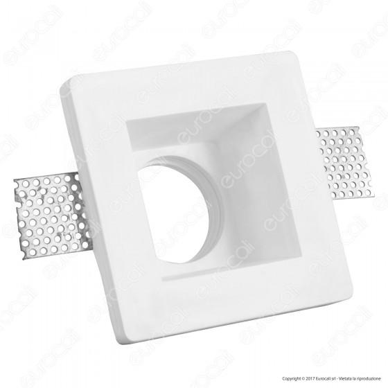 Portafaretto Quadrato da Incasso in Gesso per Lampadine GU10 e GU5.3 - ART40