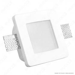 Portafaretto Quadrato da Incasso in Gesso e Vetro per Lampadine GU10 e GU5.3 - ART41