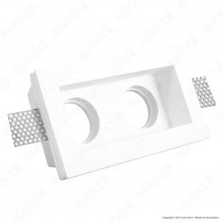 Portafaretto Doppio Rettangolare da Incasso in Gesso per Lampadine GU10 e GU5.3 - ART45