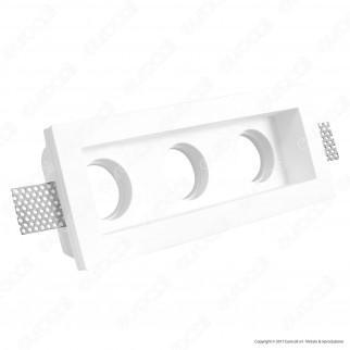 Portafaretto Triplo Rettangolare da Incasso in Gesso per Lampadine GU10 e GU5.3 - ART52