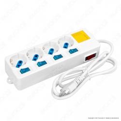 Life Multipresa 4 Posti Colore Bianco con Interruttori Singoli e Generale e Protezione Ripristinabile - mod. 38.1030474E