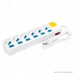 Life Multipresa 6 Posti Colore Bianco con Interruttori Singoli e Generale e Protezione Ripristinabile - mod. 38.1030476E