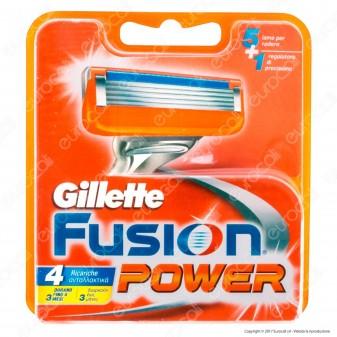 Gillette Fusion Power Ricarica di 4 Testine per Tutti i Rasoi Gillette Fusion