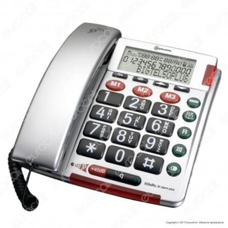 Amplicomms BigTel 50 Alarm Plus Telefono Fisso con S.O.S. per Portatori di Apparecchi Acustici [TERMINATO]