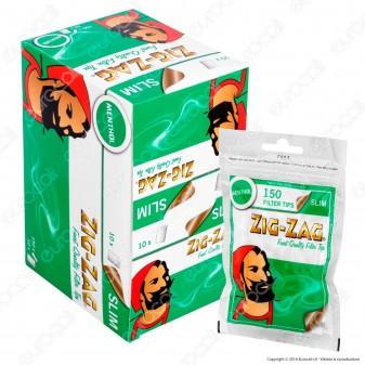 Zig Zag Slim 6mm Al Mentolo - Box 10 Bustine da 150 Filtri