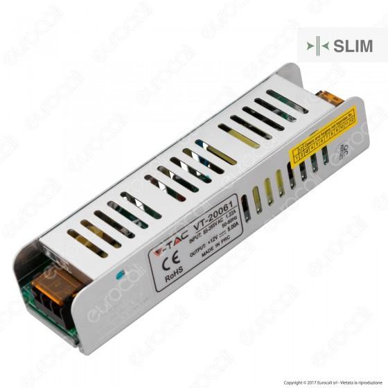 V-Tac Alimentatore VT-20061 Slim Series 60W Per Uso Interno a 1 Uscita con Morsetti a Vite - SKU 3229