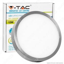 V-Tac VT-1205SN RD Pannello LED Rotondo 12W SMD Satinato con Driver - SKU 6367 / 6368 / 6369
