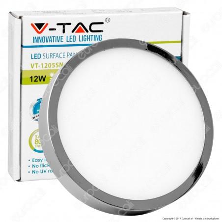 V-Tac VT-1205CH RD Pannello LED Rotondo 12W SMD Cromato con Driver - SKU 6364 / 6365 / 6366
