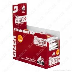 Gizeh XL Slim Extra Lunghi 6mm con Striscia Gommata - Box 20 Bustine da 100 Filtri