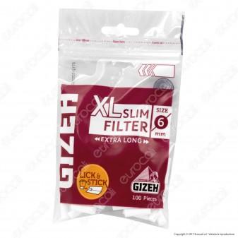 Gizeh XL Slim Extra Lunghi 6mm con Striscia Gommata - Bustina da 100 Filtri