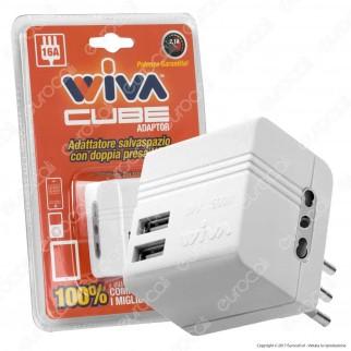 Wiva Adattatore Doppio Salvaspazio con 2 Uscite USB Colore Bianco - mod. 31500361