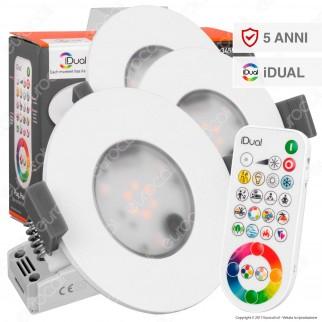 Jedi Lighting 3 Faretti LED Performa iDual RGB+W 3x7,5W Multifunzione da Incasso con Telecomando - 10 Prodotti in 1