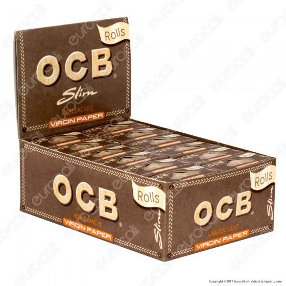 Cartine Ocb Virgin Paper Senza Cloro Rolls King Size Slim Lunghe - Scatola da 24 Pacchetti