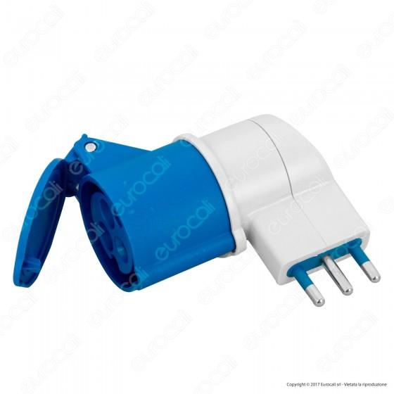 Wiva Adattatore Presa 2P+T 16A con Presa CEE Industriale Colore Bianco e Blu