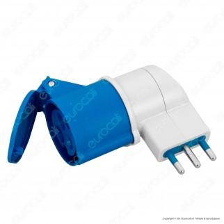 Wiva Adattatore Presa 2P+T 16A con Presa CEE Industriale Colore Bianco e Blu - mod. 31500912