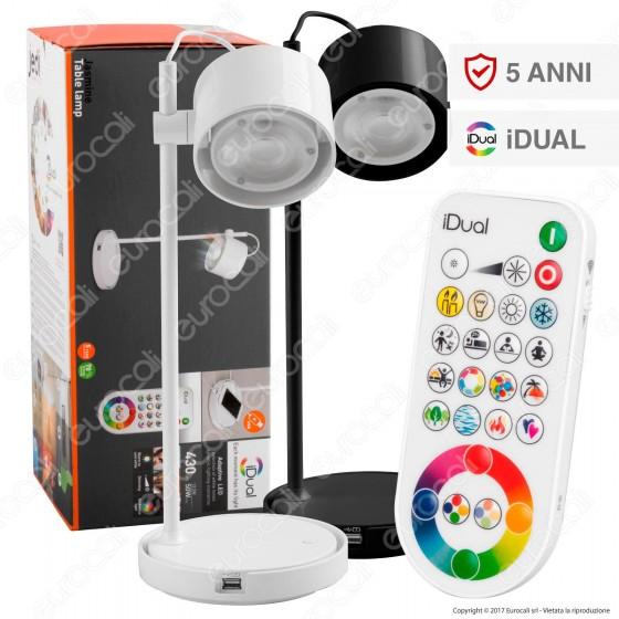 Jedi Lighting Lampada da Tavolo LED Jasmine iDual RGB+W 13,5W Multifunzione con Telecomando - 10 Prodotti in 1
